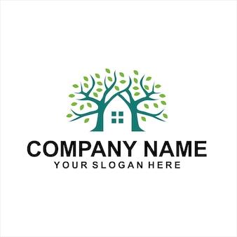 Vettore logo verde casa sull'albero