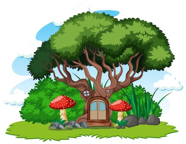 Stile del fumetto della casa sull'albero e del fungo su fondo bianco
