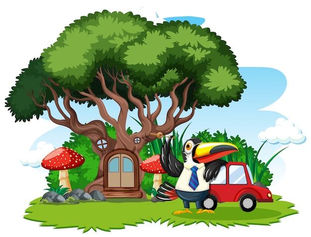 Casa sull'albero con stile cartone animato uccello carino su sfondo bianco