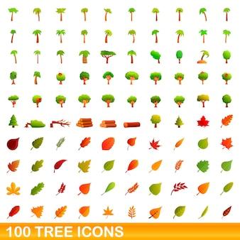 Set di icone di albero. illustrazione del fumetto delle icone dell'albero impostato su priorità bassa bianca Vettore Premium