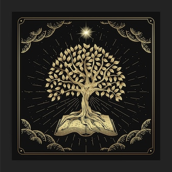 L'albero della conoscenza con libri antichi in lussuoso stile di incisione disegnata a mano