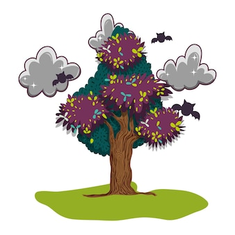 Foglie di alberi con nuvole scure e pipistrelli