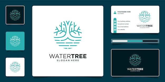 Design del logo e biglietto da visita dell'albero della vita
