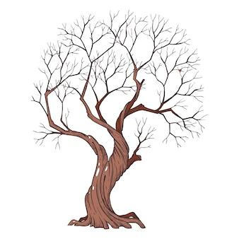 Tree line art dipinto a mano con inchiostro e penna