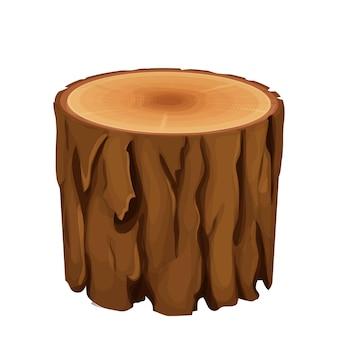 Materiale di legno del tronco dell'albero in stile cartone animato piatto isolato su bianco