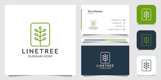Disegno di marchio dell'albero in stile art line. vestito per spa, decorazione, pianta, verde, foglia, fiore, azienda e biglietto da visita