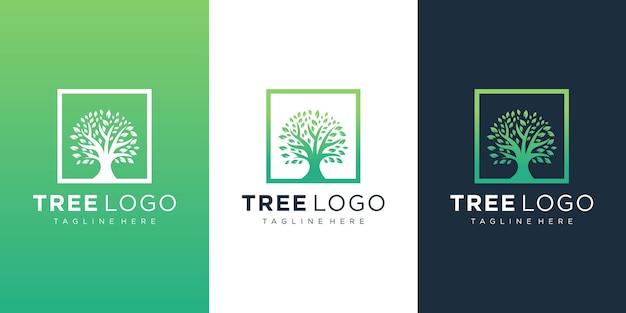 Disegno di marchio dell'albero in stile art line