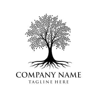 Albero logo design radice vettore albero della vita logo design ispirazione