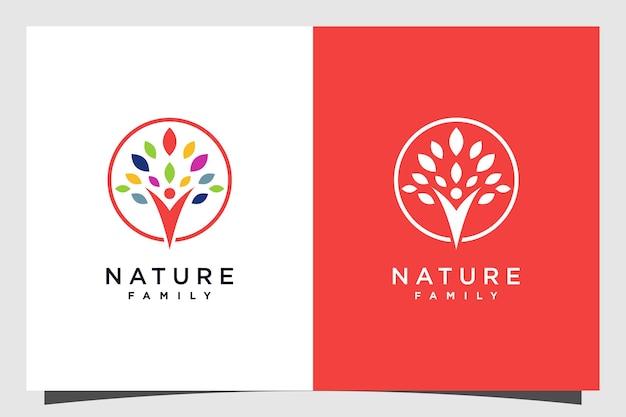 Design del logo dell'albero con il concetto umano di famiglia vettore premium parte 1