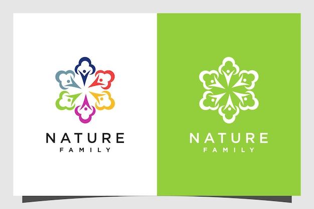 Design del logo dell'albero con il concetto umano di famiglia vettore premium parte 3