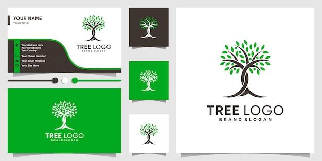Logo dell'albero con un concetto creativo moderno e modello di progettazione di biglietti da visita