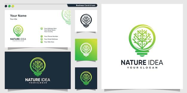 Logo dell'albero con stile moderno a forma di gradiente e modello di progettazione di biglietti da visita, albero, idea, intelligente