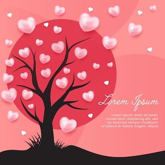 Priorità bassa dell'illustrazione di amore dell'albero