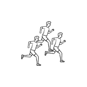 Icona di doodle di contorni disegnati a mano degli uomini dell'albero in esecuzione maratona. corri, jogging, fitness e concetto di stile di vita sano. illustrazione di schizzo vettoriale per stampa, web, mobile e infografica su sfondo bianco.