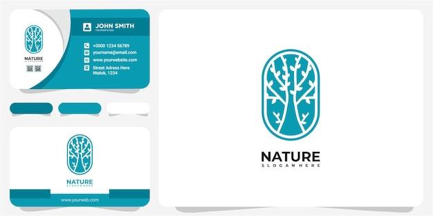 Concetto di design del logo della natura dell'albero. albero di linea nel modello di progettazione del logo del cerchio con biglietto da visita