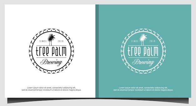Vettore di progettazione del logo dell'emblema della palma dell'albero