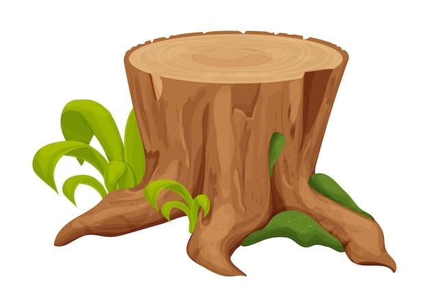 Tronco vecchio tronco d'albero con erba e muschio in stile cartone animato