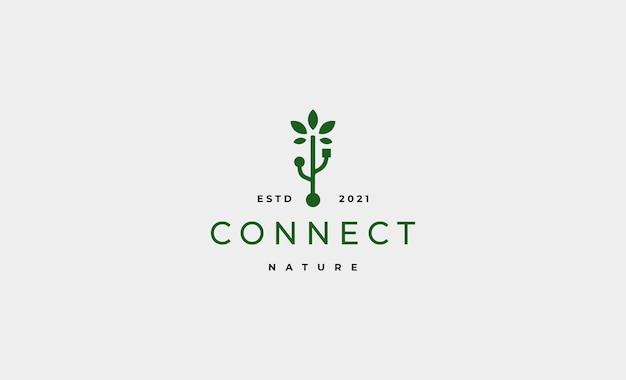Vettore di disegno del logo usb dell'albero