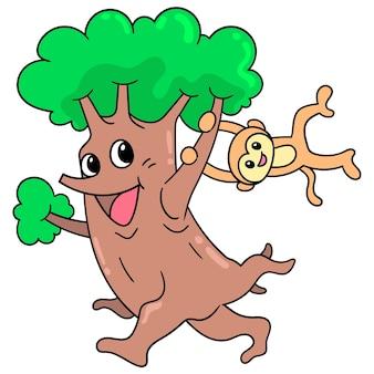 Un albero con una faccia felice che cammina giocando con la scimmia appesa, illustrazione vettoriale scarabocchiare icona immagine kawaii.