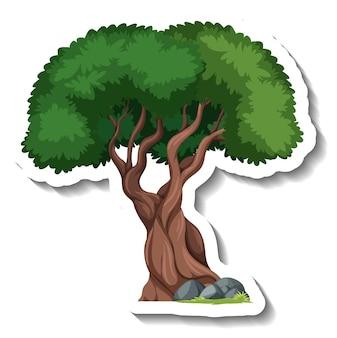 Adesivo cartone animato albero con pietra
