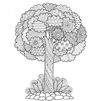 Albero stile zentangle, pagina da colorare