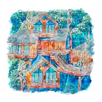 Treehouse china acquerello schizzo disegnato a mano