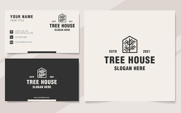 Modello di logo casa sull'albero in stile monogramma
