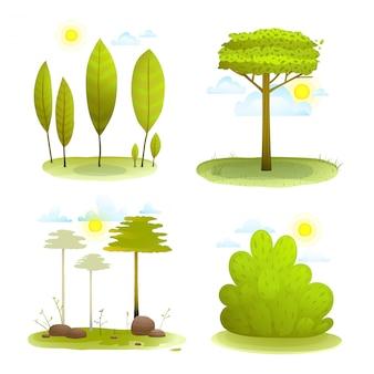 Accumulazione di paesaggio del paesaggio di estate del cespuglio e degli alberi