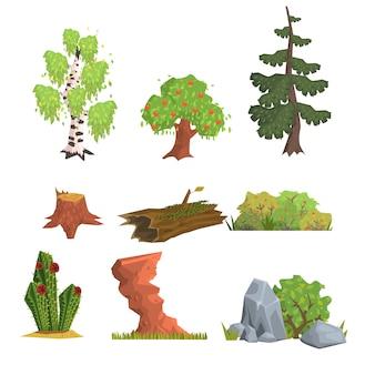 Insieme di elementi di alberi, cespugli e natura