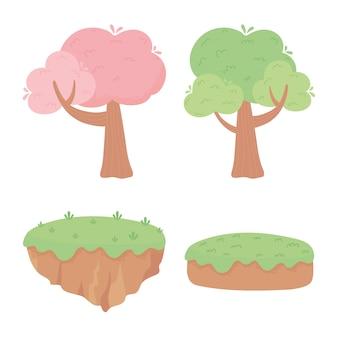 Alberi foresta terra erba natura fogliame fumetto