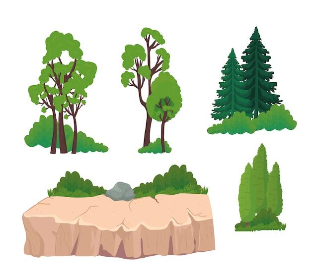 Alberi pini arbusti e pietre design, natura del paesaggio e all'aperto