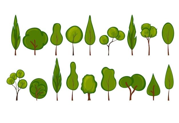 Set di alberi. stile cartone animato.