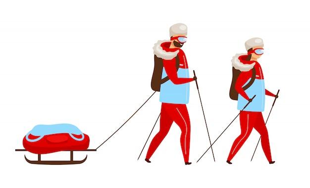 Illustrazione di colore della squadra di trekking. zaino in spalla con nordic walking in slitta. escursionismo esploratori. gruppo di spedizione artica. personaggio dei cartoni animati di donna e uomo su priorità bassa bianca