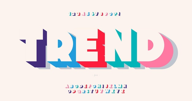 Tipografia alla moda stile grassetto carattere di tendenza per infografica, grafica animata, video