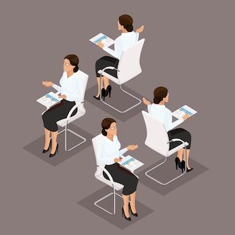 Trend isometric people imprenditrice 3d che lavora con documenti, grafica, vista frontale, vista posteriore, acconciatura alla moda, occhiali, uomo impiegato in una tuta isolata