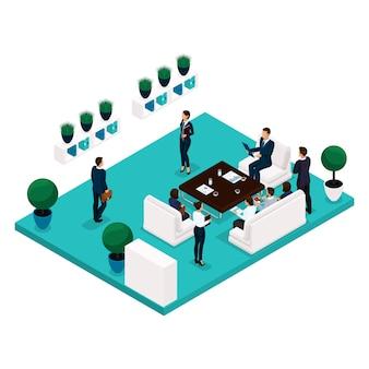 Persone isometriche di tendenza che comunicano concetto vista posteriore, ampio ufficio, riunioni, discussioni, brainstorming, donne d'affari e d'affari in giacca e cravatta
