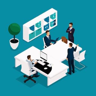Persone isometriche di tendenza, concetto, vista frontale del responsabile dell'ufficio, un grande tavolo per riunioni, trattative, brainstorming, uomini d'affari in giacca e cravatta