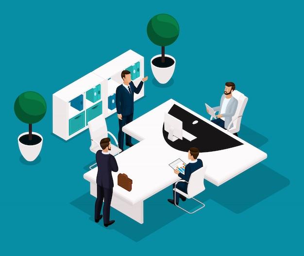 Persone isometriche di tendenza, concetto, vista posteriore del responsabile dell'ufficio, un grande tavolo per riunioni, trattative, brainstorming, uomini d'affari in giacca e cravatta
