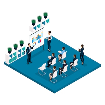 Tendenza isometrica persone apprendimento concetto vista posteriore, istruttori, formazione, lezione, incontro, brainstorming, uomini d'affari e imprenditrice in giacca e cravatta