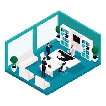 Persone isometriche di tendenza, un responsabile dell'ufficio è una vista frontale, un grande tavolo per riunioni, trattative, brainstorming, uomini d'affari isolati