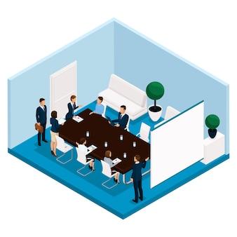 Gente isometrica di tendenza, una retrovisione del responsabile di ufficio, grande tavola dell'ufficio, trattative, riunione, consiglio di amministrazione, lampo di genio, uomini d'affari isolati