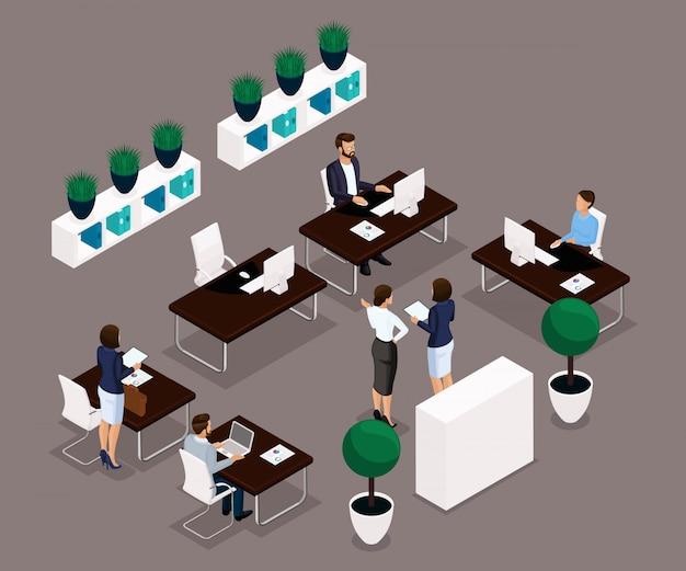Gente isometrica di tendenza, retrovisione di impiegato, concetto di affari, gestione, mobili per ufficio, flusso di lavoro, impiegati di affari in abiti isolati