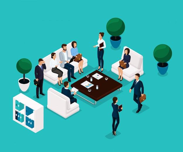 Persone isometriche di tendenza, una stanza che discute di una vista frontale, concetto di business, discussione, brainstorming, uomini d'affari in abiti eleganti