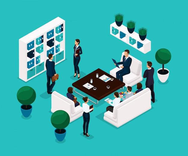 Persone isometriche di tendenza, una discussione in camera vista posteriore, concetto di business, discussione, brainstorming, uomini d'affari in giacca e cravatta
