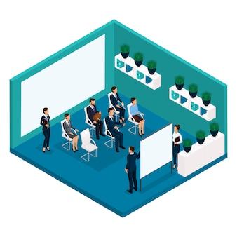 Persone isometriche di tendenza, una stanza, una vista posteriore di un allenatore di ufficio, insegnamento di una grande sala ufficio, formazione, incontro, lezione, business coach, affari e imprenditrice