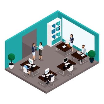 Persone isometriche di tendenza, una stanza, una vista frontale dell'ufficio, una grande stanza dell'ufficio, lavoro, impiegati, uomini d'affari e donna d'affari in giacca e cravatta isolato