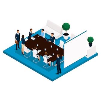 Persone isometriche di tendenza, una stanza, una vista posteriore del responsabile dell'ufficio, un grande tavolo per riunioni, trattative, riunioni, brainstorming, uomini d'affari in giacca e cravatta
