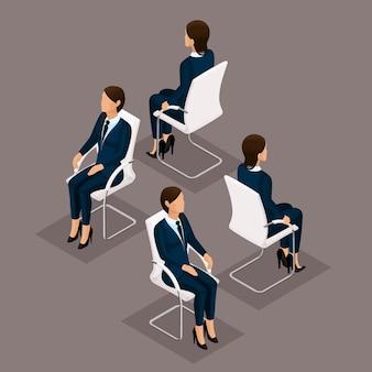 Insieme isometrico della gente di tendenza, donna di affari 3d in vestito, sedendosi su una sedia, vista frontale e retrovisione isolate. illustrazione vettoriale