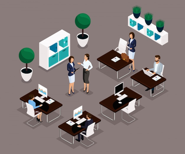 L'ufficio di lavoro della gente isometrica di tendenza è una vista frontale, concetto di affari, gestione, mobilia dell'ufficio, flusso di lavoro, impiegati di affari in vestiti isolati. illustrazione vettoriale