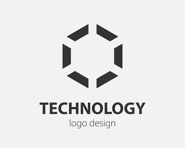 Progettazione di tecnologia di esagono di vettore di logo di tendenza. logotipo tecnologico per sistema intelligente, applicazione di rete, icona crittografica.